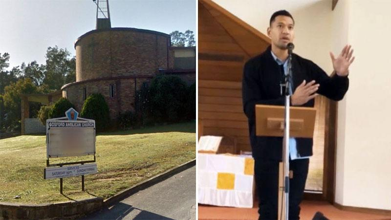 The Gosford Anglican Church's sign was arranged by Fr Rod Bower to show a message speaking out against Israel Folau's homophobic sermons.