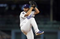 Los Angeles Dodgers starting pitcher Clayton Kershaw throws to an Arizona Diamondbacks batter during the first inning of a baseball game Monday, Sept. 13, 2021, in Los Angeles. (AP Photo/Marcio Jose Sanchez)