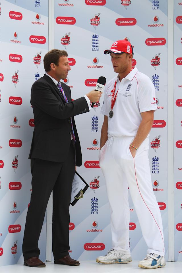 LONDON - JULY 20: Man of the Match Andrew Flintoff of England talks to commentator Michael Atherton after England's victory during day five of the npower 2nd Ashes Test Match between England and Australia at Lord's on July 20, 2009 in London, England.  (Photo by Tom Shaw/Getty Images)