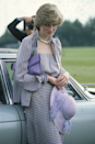 <p>Diana once went straight from Royal Ascot to watch the polo in this lilac striped number, removing her statement feathered hat for the more laid back venue. </p>