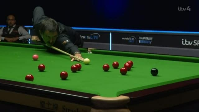 Ronnie O'Sullivan in action during the Championship League (ITV4)