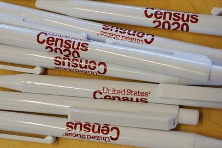 FILE PHOTO: Pens are available at an event for community activists and local government leaders to mark the one-year-out launch of the 2020 Census efforts in Boston