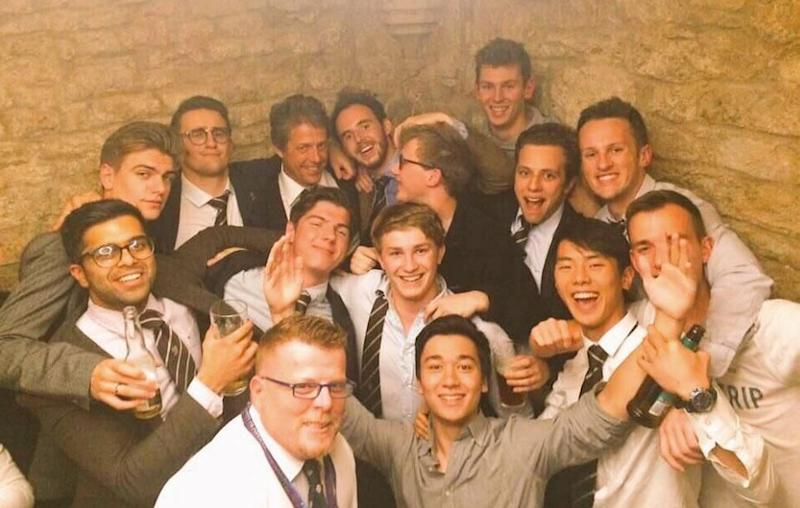 The actor really got into party mode during his night out with some Oxford University rugby players. Source: Instagram