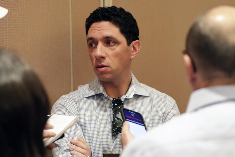Texas Rangers president of baseball operations and general manager Jon Daniels speaks during a media availability at the Major League Baseball general managers annual meetings, Wednesday, Nov. 13, 2019, in Scottsdale, Ariz. (AP Photo/Matt York)