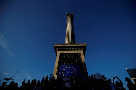 FILE PHOTO: Protesters participating in an anti-Brexit demonstration march sit at the base of Nelson's Column, in Trafalgar Square, in central London, Britain October 20, 2018. REUTERS/Henry Nicholls