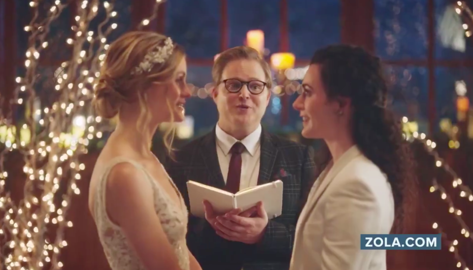 Hallmark has apologised and reversed its decision to withdraw an advert featuring a same-sex couple kissing [Photo: Zola]