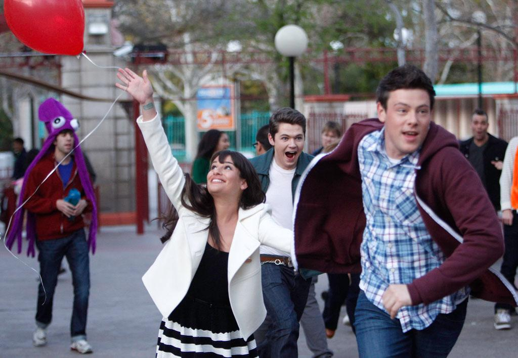 "Rachel (Lea Michele), Rory (Damian McGinty) and Finn (Cory Monteith) go to an amusement park for senior ditch day in ""Big Brother,"" the Spring Premiere episode of ""Glee."""