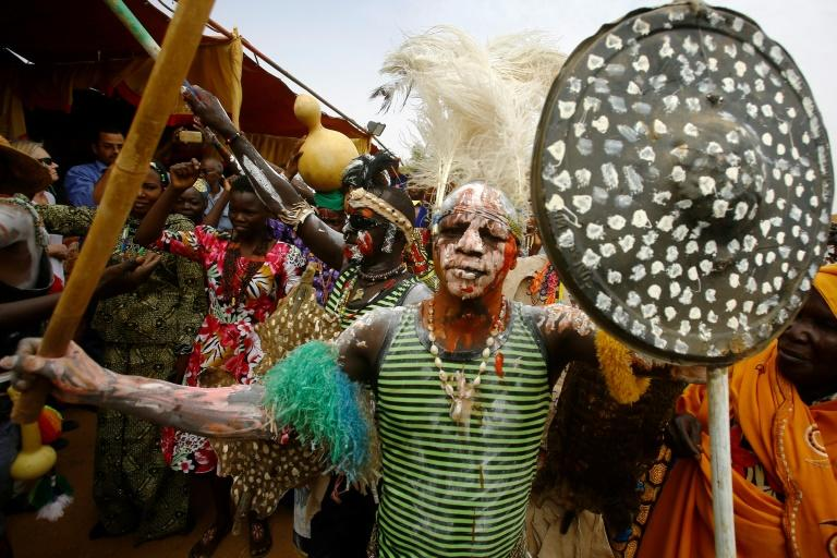 A member of Sudan's Nuba community dances during the Nuba Mountains Cultural Heritage Festival