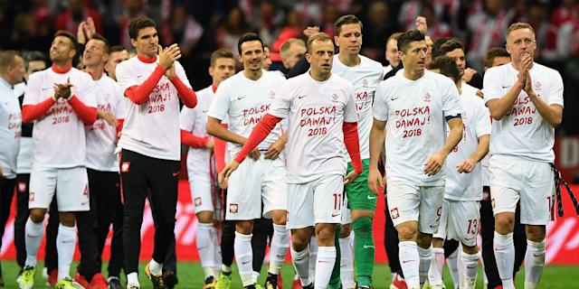 Poland players celebrating Poland Montenegro WC Qualification