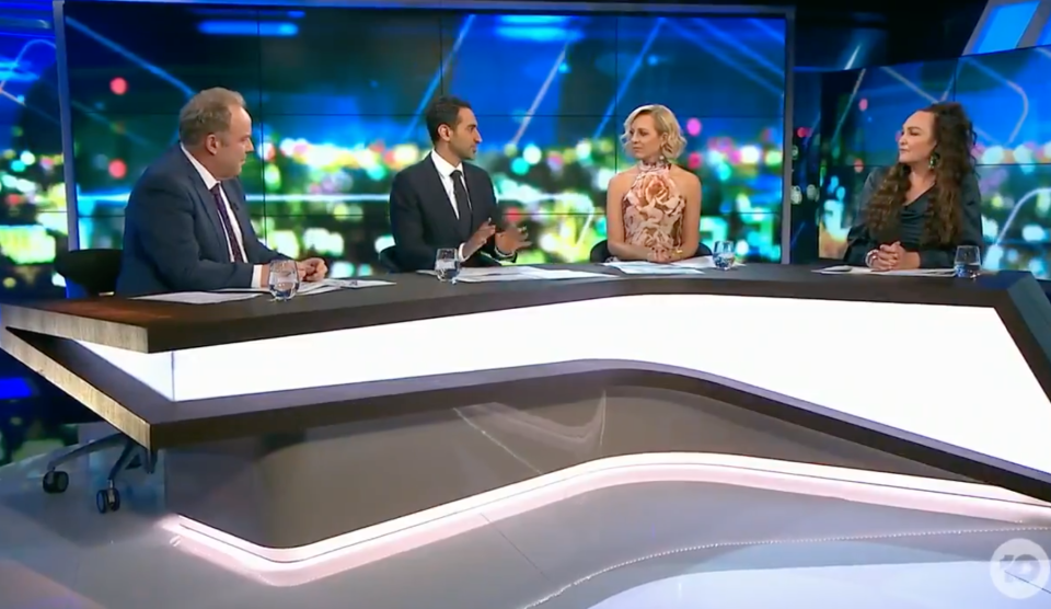 Waleed Aly and Carrie Bickmore on The Project panel
