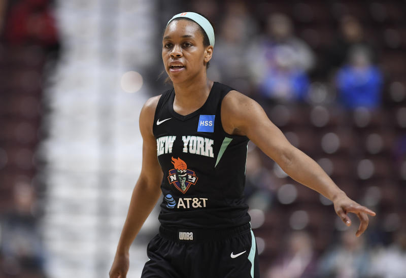 New York Liberty's Asia Durr during the first half of a preseason WNBA basketball game, Tuesday, May 14, 2019, in Uncasville, Conn. (AP Photo/Jessica Hill)