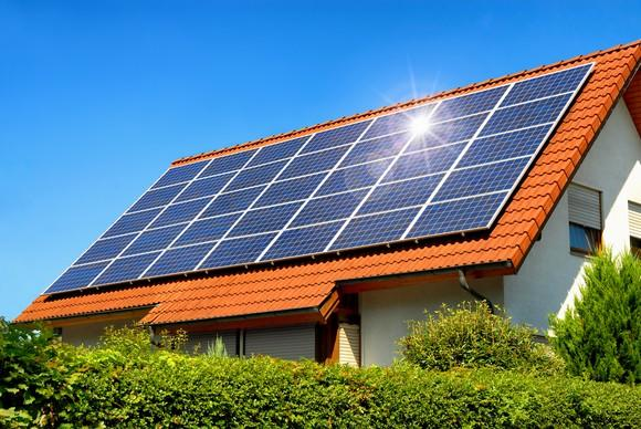 Large rooftop solar installation.