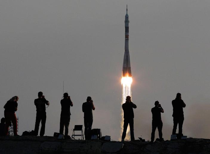 <p>JUL. 7, 2016 — The Soyuz-FG rocket booster with Soyuz MS space ship carrying a new crew to the International Space Station, ISS, blasts off at the Russian leased Baikonur cosmodrome, Kazakhstan. (Dmitri Lovetsky/AP) </p>