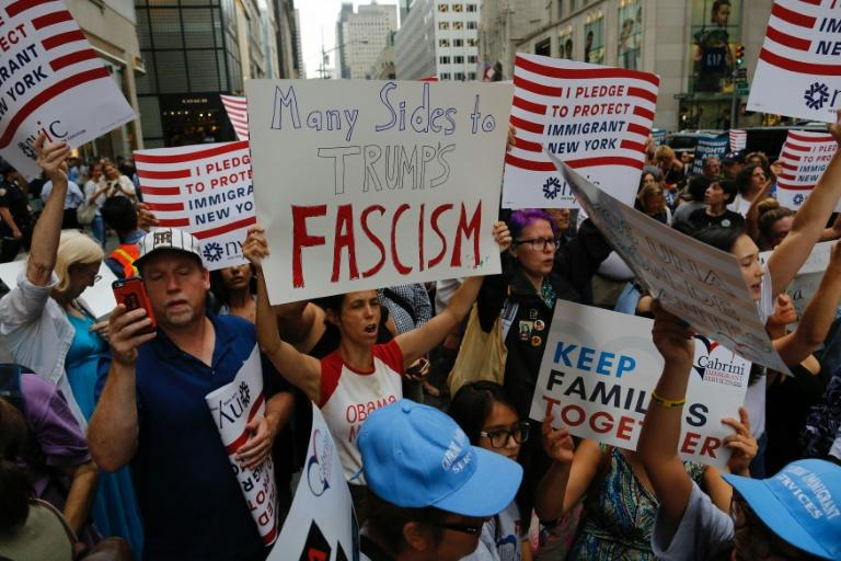 Protesters have marched outside Trump Tower since the president returned to his New York home earlier this week