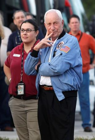 FILE PHOTO: Former Apollo astronaut Al Worden arrives at the VIP viewing site for launch of the Ares I-X test rocket at the Kennedy Space Center in Cape Canaveral