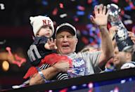 <p>Head Coach Bill Belichick of the New England Patriots celebrates with his granddaughter Blakely after the Super Bowl LIII at Mercedes-Benz Stadium on February 3, 2019 in Atlanta, Georgia. The New England Patriots defeat theLos Angeles Rams 13-3. (Photo by Harry How/Getty Images) </p>