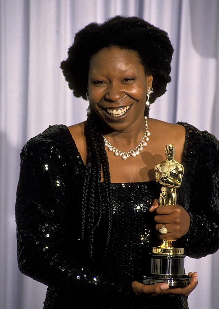 Goldberg with her Academy Award for 1991's Ghost