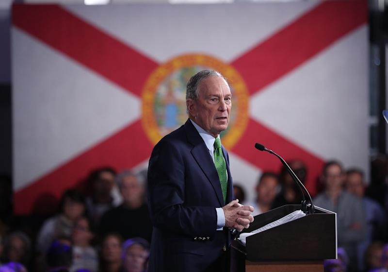 "Democratic presidential candidate former New York City Mayor Mike Bloomberg speaks during a ""United for Mike,"" event held at the Aventura Turnberry Jewish Center and Tauber Academy Social Hall on Jan. 26, 2020, in Aventura, Florida. (Photo: Joe Raedle via Getty Images)"