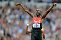Kenya's David Rudisha celebrates after winning what is widely considered the greatest 800 metres race of all time when he broke the world record to win Olympic gold in 2012