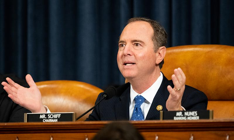 Representative Adam Schiff (D-CA) attends the Open Hearings on the Impeachment of President Donald Trump of the House Intelligence Committee in Washington. (Photo: Michael Brochstein / Echoes Wire / Barcroft Media via Getty Images)