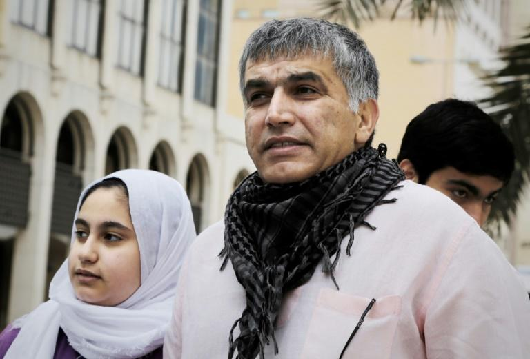 High-profile Bahraini activist Nabeel Rajab, who has been sentenced to a further five years in jail over tweets critical of the war in Yemen, is seen here in 2015  with his daughter Malak