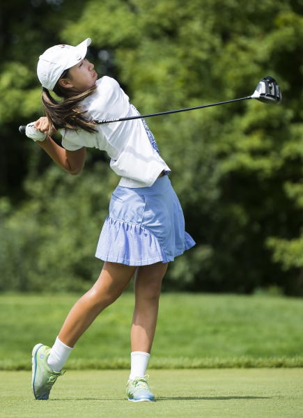 Twelve-year-old Canadian Michelle Liu hits her shot on the 10th hole during the first round of the CP Women's Open golf tournament in Aurora, Ontario, Thursday, Aug. 22, 2019. (Nathan Denette/The Canadian Press via AP)