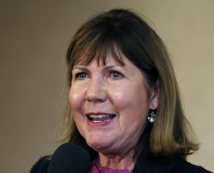 FILE - In this Nov. 6, 2012 file photo, then-Congressional candidate, now-Rep. Ann Kirkpatrick, D-Ariz. speaks in Flagstaff, Ariz. Hit with a multi-million-dollar barrage of televised attacks, Democrats in tough re-election races want credit for trying to fix the problematic parts of Obamacare at the same time they claim bragging rights for its popular provisions and allege Republicans would reverse the law's crackdown on insurance company abuses. (AP Photo/Ralph Freso, File)