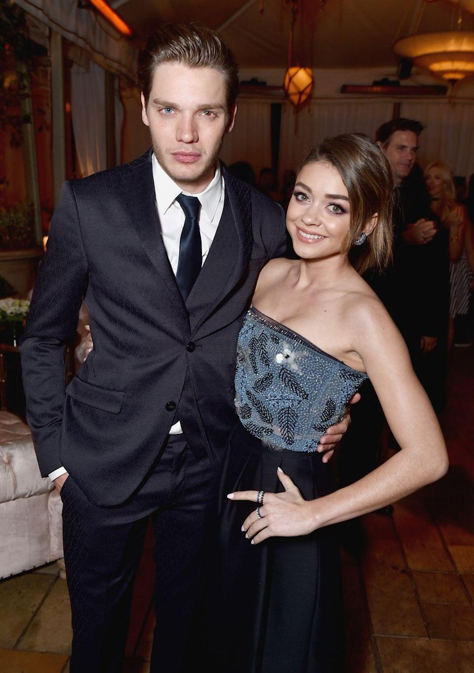 <p><em>Modern Family</em> star Sarah Hyland began dating <em>Shadowhunters'</em> Dominic Sherwood in 2015. The couple reportedly got matching arrow tattoos in the beginning of their relationship but broke up two years later. Hyland filmed two episodes of <em>Shadowhunters</em> as the Seelie Queen, but the couple broke up just weeks before the episodes aired.</p>