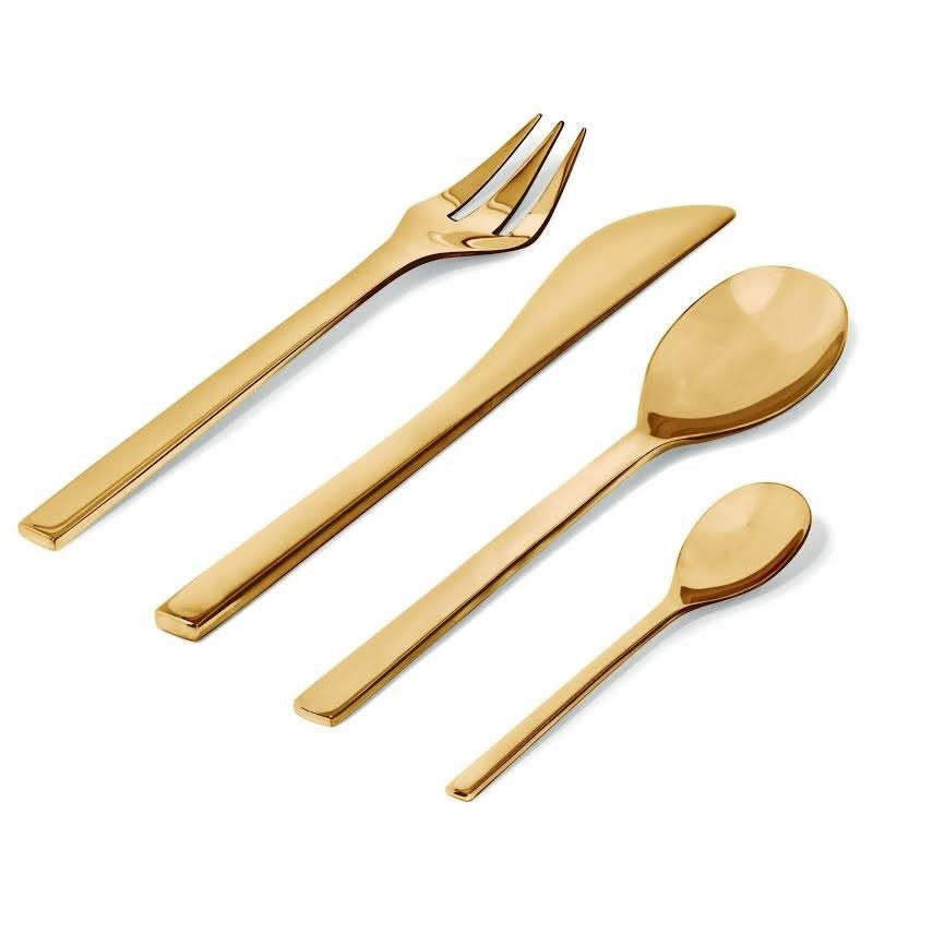 """One of our favorite flatware sets, Colombina, designed by Doriana and Massimiliano Fuksas for <a rel=""""nofollow"""" href=""""https://www.alessi.com/us_en/"""">Alessi</a>, is being introduced in brass, with 24-piece collections available."""