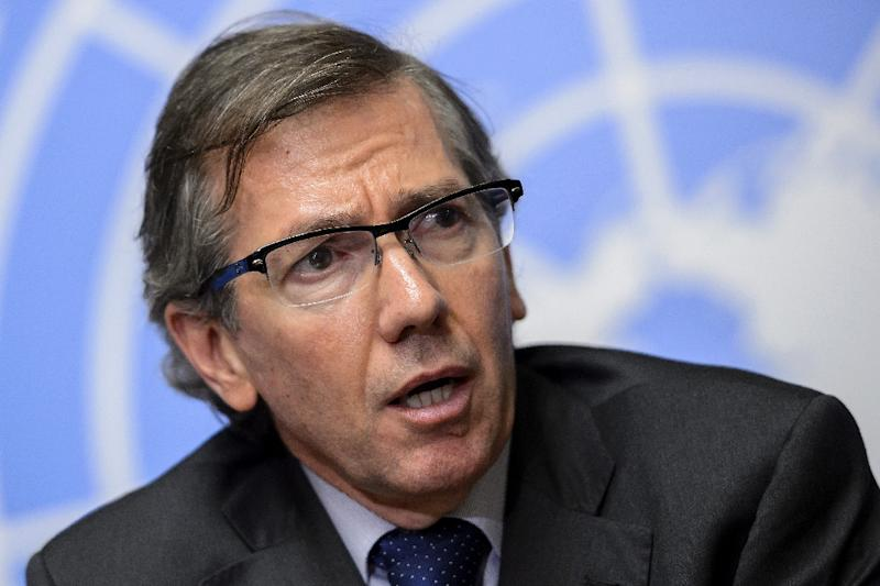 United Nations special envoy to Libya Bernardino Leon looks on during a press conference at the opening of Libya peace talks on August 11, 2015 at the UN Office in Geneva (AFP Photo/Fabrice Coffrini)