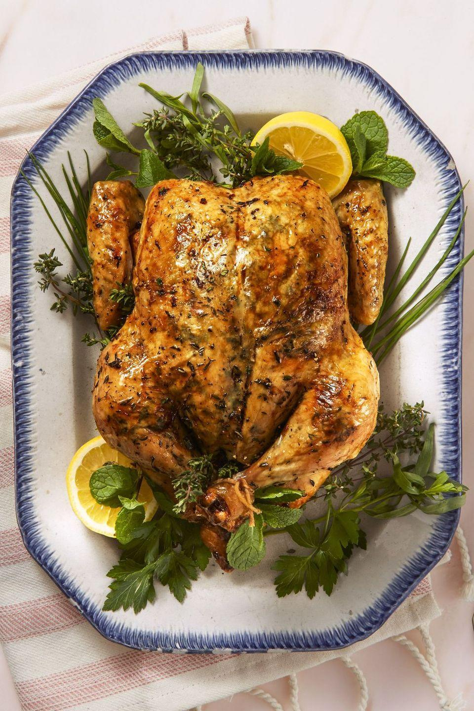 """<p>You'll get plenty of leftovers out of this citrusy, lemon flavored roasted chicken.</p><p><em><a href=""""https://www.goodhousekeeping.com/food-recipes/healthy/a43668/lemony-herb-roast-chicken-recipe/"""" rel=""""nofollow noopener"""" target=""""_blank"""" data-ylk=""""slk:Get the recipe for Lemony Herb Roast Chicken »"""" class=""""link rapid-noclick-resp"""">Get the recipe for Lemony Herb Roast Chicken »</a></em></p>"""