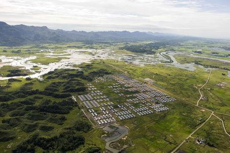 FILE PHOTO: An aerial view of Hla Phoe Khaung transit camp for Rohingya who decide to return back from Bangladesh, is seen in Maungdaw, Rakhine state, Myanmar, September 20, 2018. Ye Aung Thu/Pool via REUTERS/File Photo