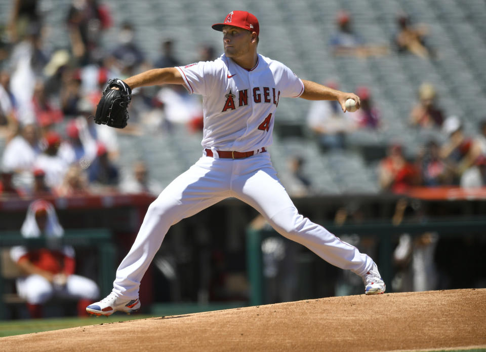 Los Angeles Angels starter Reid Detmers throws in the first inning against the Oakland Athletics during a baseball game Sunday, Aug. 1, 2021, in Anaheim, Calif. (AP Photo/John McCoy)