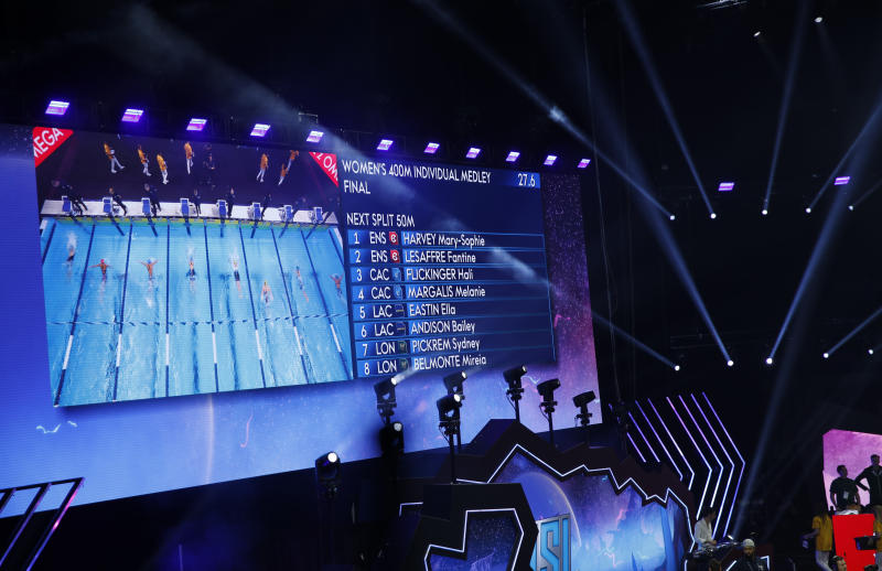 Swimmers are displayed on a screen during the women's 400-meter individual medley in an International Swimming League event Friday, Dec. 20, 2019, in Las Vegas. (AP Photo/John Locher)