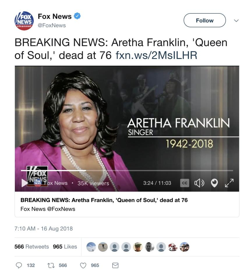 Fox News under fire for Aretha Franklin's tribute