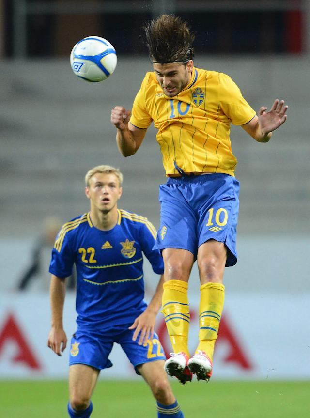 Sweden's Astrit Ajdarevic (R) heads the ball past Ukarine's Dmutro Grechyshkin during the U21 European Football Championships qualification match Sweden vs Ukraine in Kalmar on September 10, 2012. AFP PHOTO/ SCANPIX/ PATRIC SODERSTROM ***SWEDEN OUT***Patric Soderstrom/AFP/GettyImages