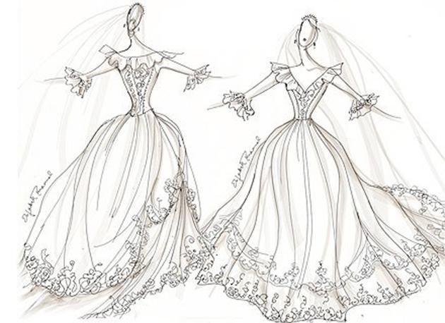 This is a sketch of Diana's back-up gown. Photo: REX USA