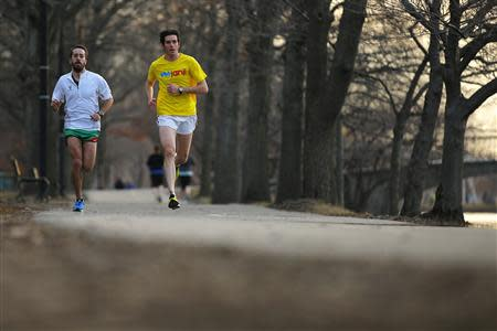Chorney and Burnstein train for the Boston Marathon in Boston