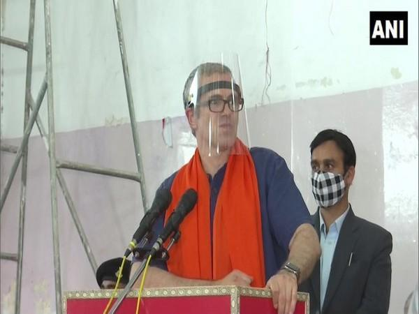 National Conference leader Omar Abdullah speaks at a public gathering in Jammu on Friday. (Photo/ANI)