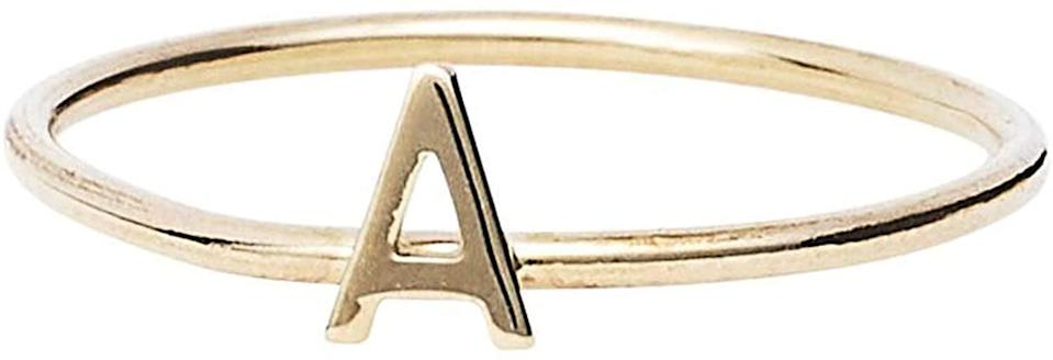 <p>The <span>ByChari Gold-Filled Initial Ring</span> ($60) is an elegant and chic way to add a personable touch to your ring collection.</p>
