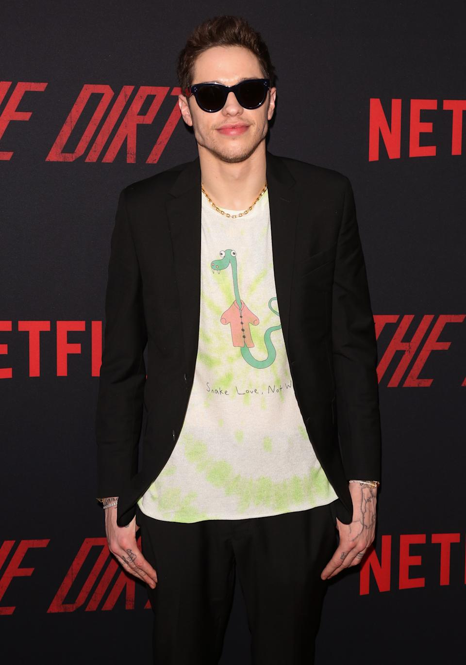 """Actor Pete Davidson attends the Premiere Of Netflix's """"The Dirt"""" at ArcLight Hollywood on March 18, 2019 in Hollywood, California. (Photo by Paul Archuleta/FilmMagic)"""