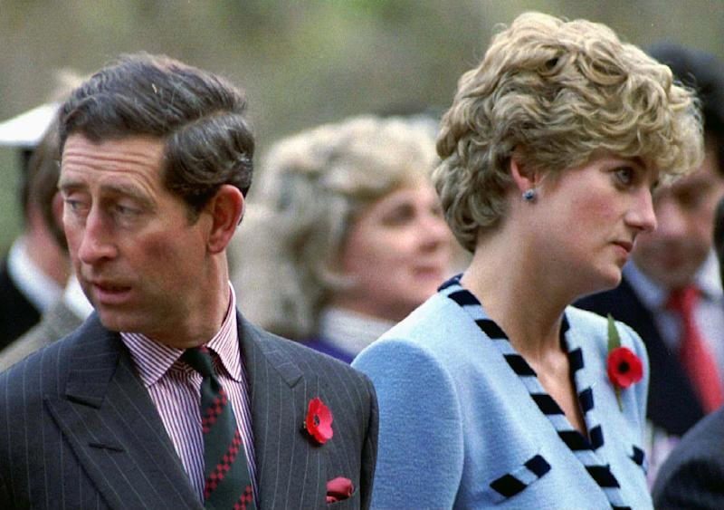NOV92 FILE PHOTO - Princess Diana and Prince Charles look in different directions during a Korean War commemorative service in November 1992. Princess Diana, who was divorced from Charles in 1996, and her millionaire companion Dodi Al Fayed were killed early Sunday when their car crashed while reportedly being chased through Paris by photographers on motorcycles. FRANCE DIANA