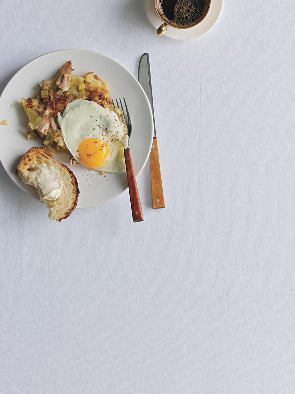 """Once again, a fried egg makes everything better—leftover turkey meat is no exception. <a href=""""https://www.epicurious.com/recipes/food/views/turkey-hash-350650?mbid=synd_yahoo_rss"""" rel=""""nofollow noopener"""" target=""""_blank"""" data-ylk=""""slk:See recipe."""" class=""""link rapid-noclick-resp"""">See recipe.</a>"""