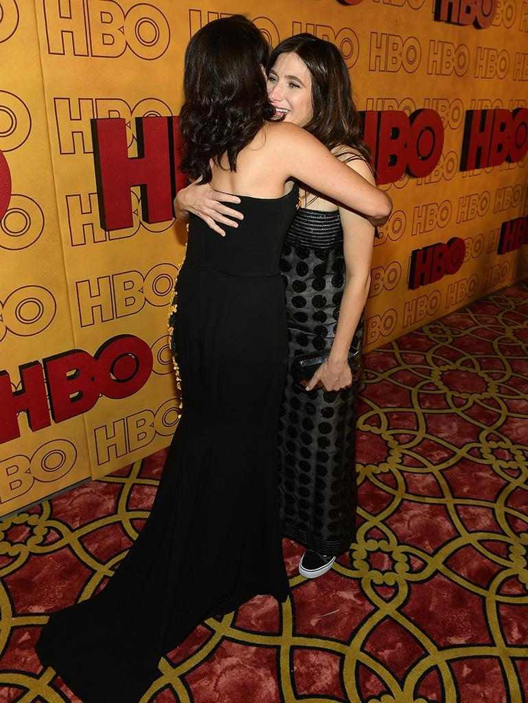 <p>Julia Louis-Dreyfus and Kathryn Hahn embraced at HBO's Post Emmy Awards Reception at the Plaza at the Pacific Design Center. (Photo: Matt Winkelmeyer/Getty Images) </p>