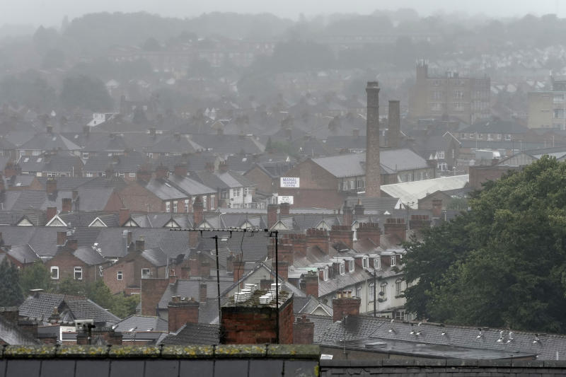 LEICESTER, ENGLAND - JULY 09: Inclement weather shrouds the roofs of homes and factories in Leicester's North Evington and Spinney Hills neighbourhood on July 09, 2020 in Leicester, England. Businesses in the city had to close again on June 30 after a spike in coronavirus cases. Elsewhere in England, pubs, restaurants and other public spaces could reopen as of July 4. (Photo by Christopher Furlong/Getty Images)