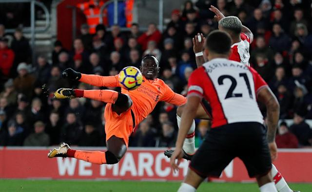 "Soccer Football - Premier League - Southampton vs Liverpool - St Mary's Stadium, Southampton, Britain - February 11, 2018 Liverpool's Sadio Mane has a shot blocked by Southampton's Mario Lemina Action Images via Reuters/Peter Cziborra EDITORIAL USE ONLY. No use with unauthorized audio, video, data, fixture lists, club/league logos or ""live"" services. Online in-match use limited to 75 images, no video emulation. No use in betting, games or single club/league/player publications. Please contact your account representative for further details."