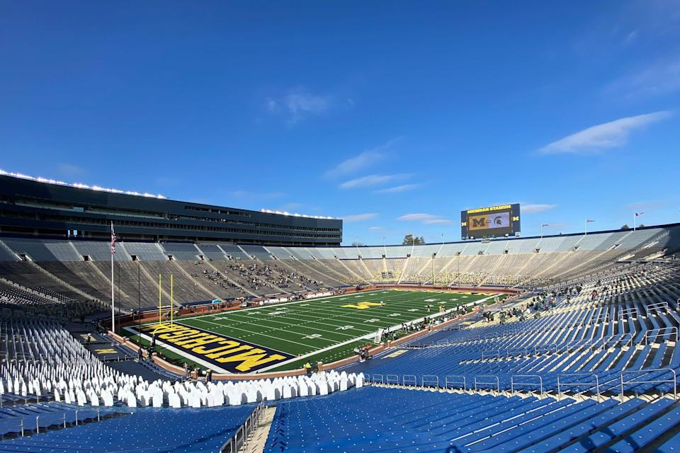 General view at Michigan Stadium prior to the game between rivals Michigan and Michigan State on Oct. 31, 2020 in Ann Arbor.