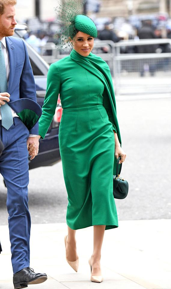 <p>The Duchess of Sussex wore a green Emilia Wickstead dress for the event. She accessorized her look with one of her go-to bags from Gabriella Hearst and nude pumps from Aquazzura.</p>