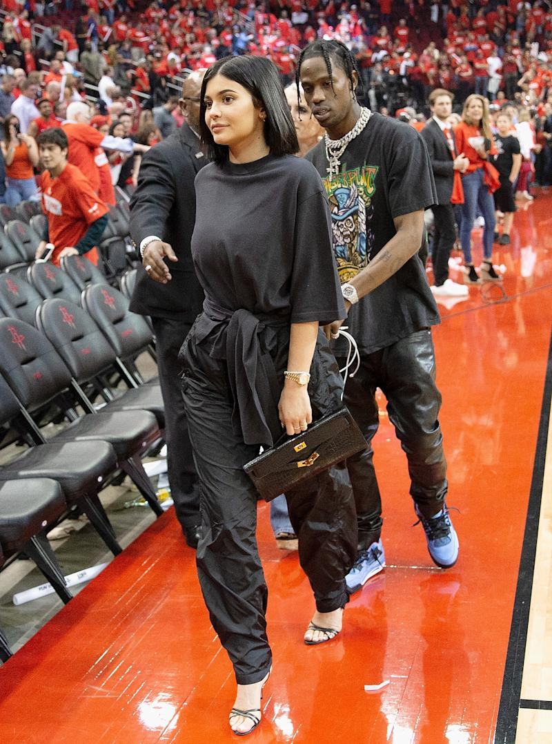 Kylie Jenner and Travis Scott leave after Game Two of the first round of the Western Conference playoffs at Toyota Center on April 18, 2018 in Houston, Texas. Photo courtesy of Getty Images.