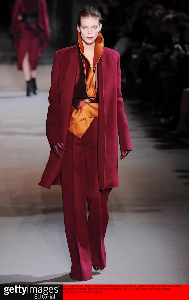 PARIS, FRANCE - MARCH 03:  A model walks the runway at the Haider Ackermann Autumn Winter 2012 fashion show during Paris Fashion Week on March 3, 2012 in Paris, France.  (Photo by Nathalie Lagneau/Catwalking/Getty Images)